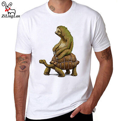 Zootopia Tortoise Sloth Design T-shirt Men's Short Sleeve Funny Tees Shirts Tops