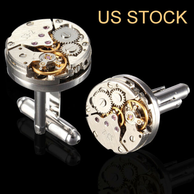 Watch Movement Mens Steampunk Vintage Silver Cufflinks Cuff Links