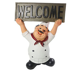 Image Is Loading Restaurant Kitchen Chef Figurine With WELCOME Sign Board