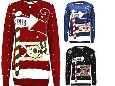Fein Women Ladies Men Christmas To The Pub Jumper Sweatshirt Funny Retro Novelty Top