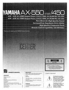 Download free pdf for yamaha ax-550 amp manual.