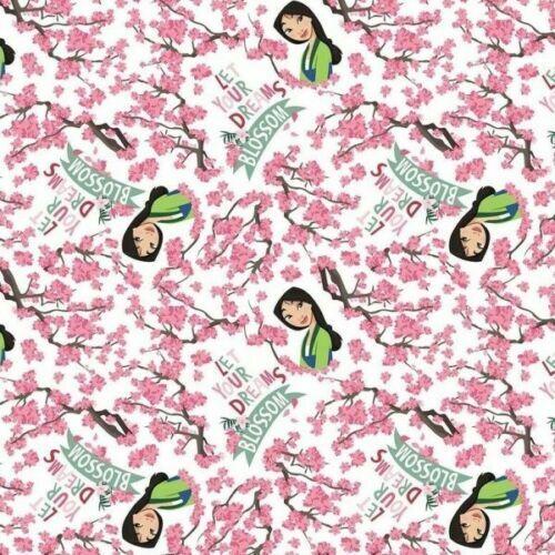 "Disney Princess Mulan Dreams Blossom 100/% Cotton Licenced Fabric *sold per FQ/"""