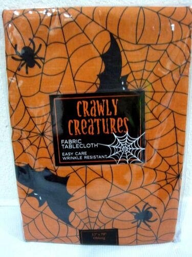 Halloween Crawly Creatures Orange Spiderweb Fabric Tablecloth Decor U PICK SIZE