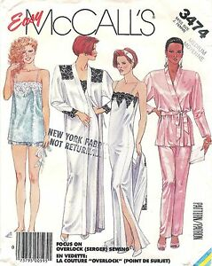 1987-McCall-039-s-Sewing-Pattern-3474-Misses-Robe-Nightgown-Camisole-Pants-Sz-14-16