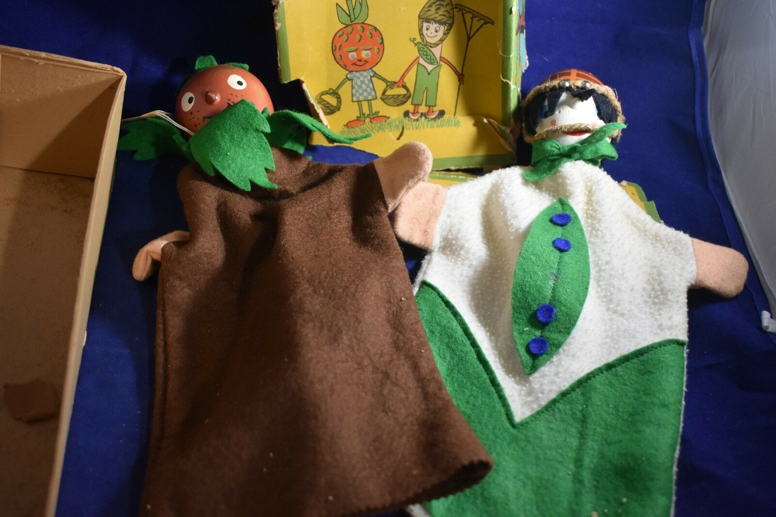 Two German-Made Hand Puppets for Halloween--Pumpkin head and Boy w/Basket on hea