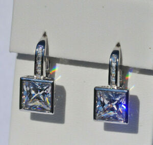 Echt-925-Sterling-Silber-Ohrringe-Quadrat-Zirkonia-Hochzeit-Nr-257