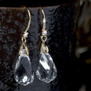 18k-yellow-gold-made-with-SWAROVSKI-crystal-drop-dangle-hook-earrings-sparkling