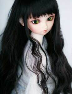 """1//3 8-9/"""" BJD Doll Wig Jet Black Curly Wavy Wave Hair Wave Long Lovely"""