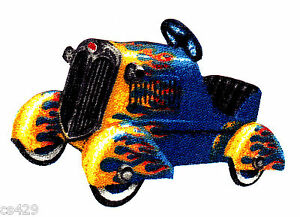 2-5-034-Antique-car-vehicle-tractor-blue-flame-fabric-applique-iron-on-character
