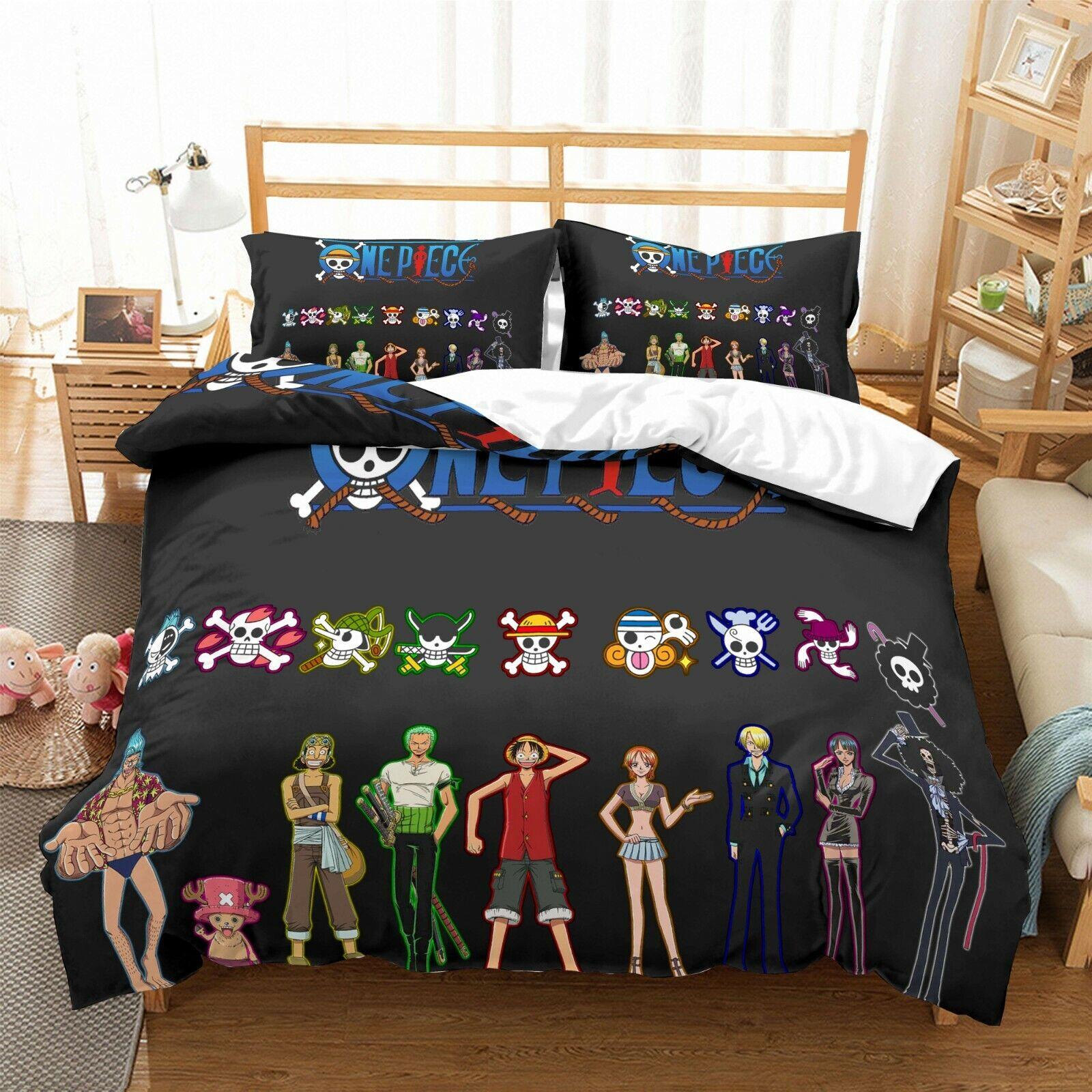 3D Japanese Pirate Quilt Cover Set Bedding Duvet Cover Double Queen King 3pcs 47