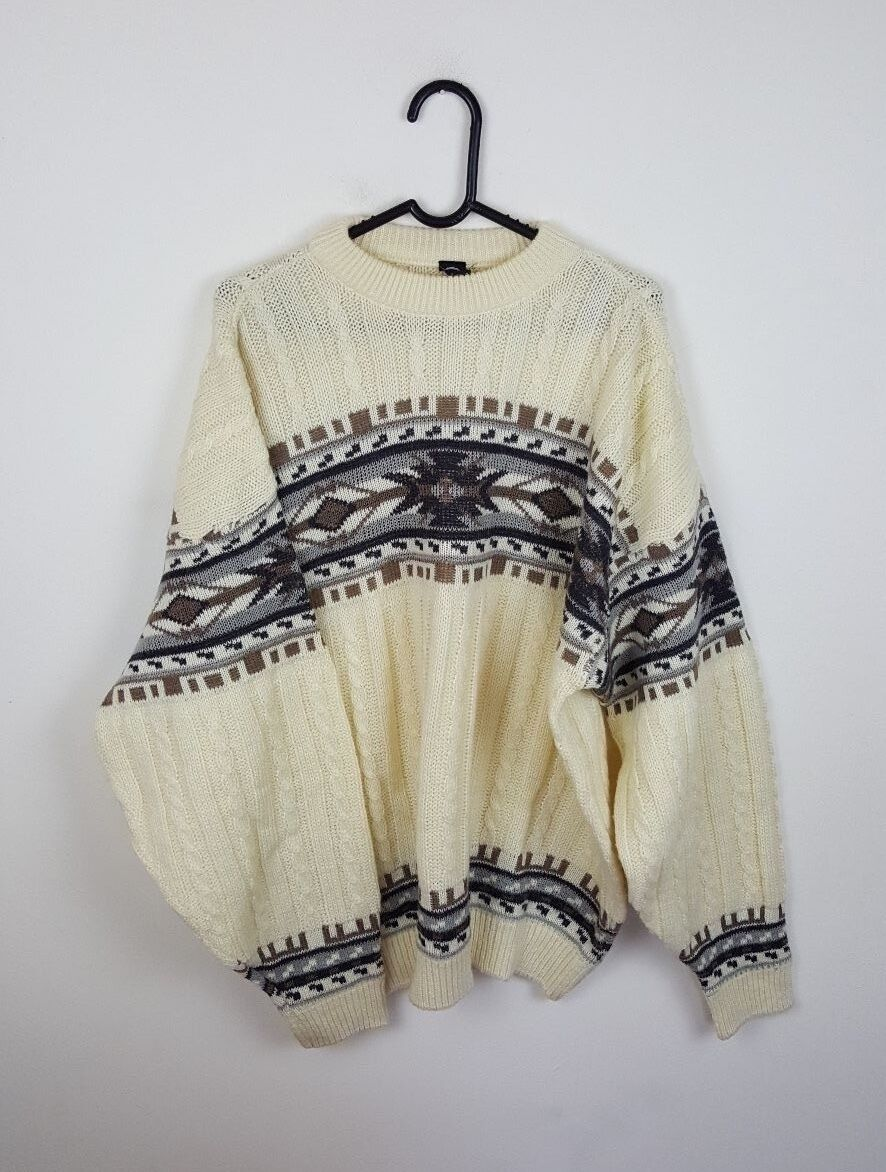 MENS VTG RETRO AZTEC WINTER C&A SNOWFLAKE OVERHEAD SWEATSHIRT JUMPER VGC UK XL
