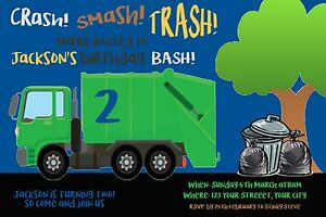 Details About GARBAGE TRUCK Invitation DUMP YOU PRINT File Birthday Party Invite RUBBISH