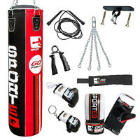 5ft New Sporteq Rexnyl Kick Boxing Punchbag,Punch Bag Set