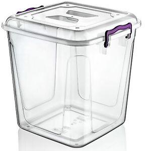 Large 20 Litre Clear Plastic Box Kitchen Dry Food Flour Storage