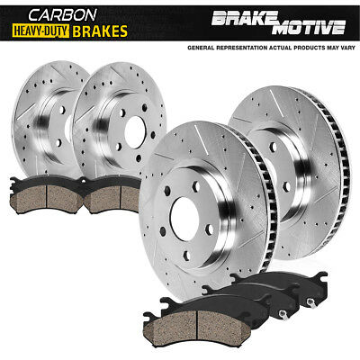 Front Rear Brake Disc Rotors and Ceramic Pads For 2007-2010 Ford Edge Drill Slot