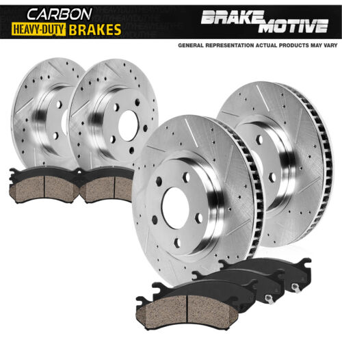 Carbon Ceramic Pads For Ford Edge MKX Front+Rear Drill Slot Brake Rotors