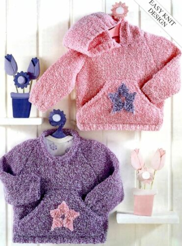 DK Knitting Pattern for Baby Child Easy Knit Sweaters 755 16-26/'/'