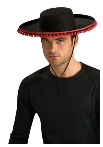 Black Felt Adult Spanish Hat with Pompoms