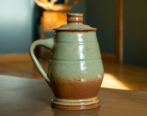 Studio-Pottery-Signed-Vintage-Green-Brown-Sage-Stein-Mug-Vase-Pot-Ceramics