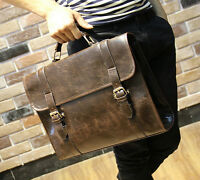 Mens Vintage Synthetic Leather Messenger Shoulder Laptop Bag Briefcase  Brown