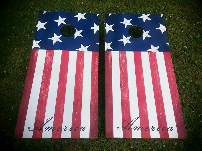 American Stars & Stripes Flag Corn Hole Boards - Bean Bag Toss Game