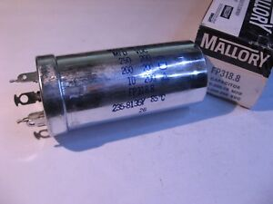 Electrolytic-Capacitor-3-Sect-250-200-10uF-200-200-200VDC-Mallory-FP318-8-NOS