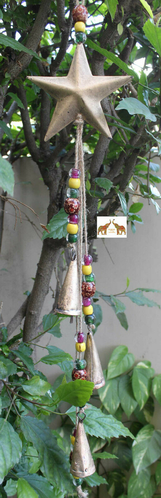 Handmade Star Moon Bell Wall Hanging String Decoration Indian Metal Crafts 72 cm