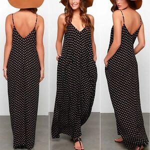 8df0e5757065 Sexy Ladies Summer Boho Long Maxi Polka Dot Slip Dress Women Casual ...