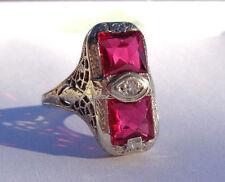 GATSBY ERA 1920S ART DECO 14K WHITE GOLD FANCY DOUBLE RUBY DIAMOND FILIGREE RING