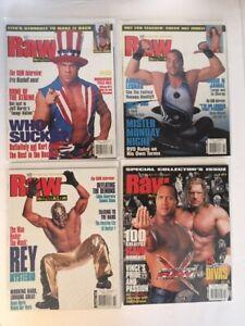 Lot-of-4-WWF-Raw-Magazine-2002-Oct-Nov-Dec-Holiday-Angle-RVD-Mysterio-Rock-WWE