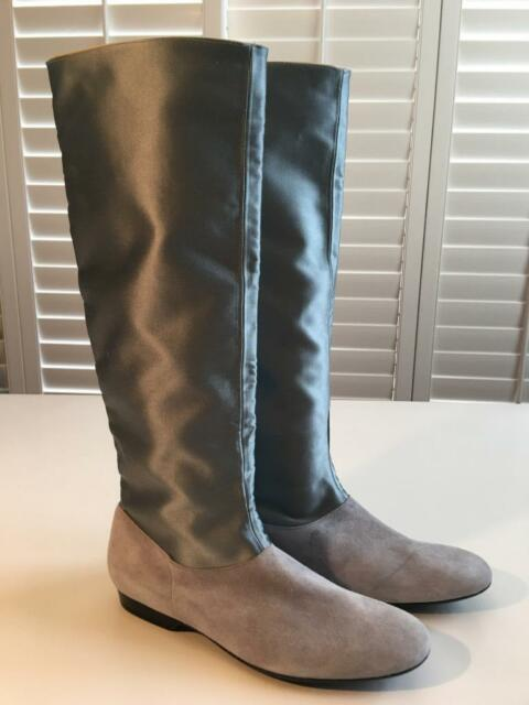 77c0cd7634d New Authentic ROBERT CLERGERIE Suede Silk Gray Leather Knee High Flat Boots  8.5