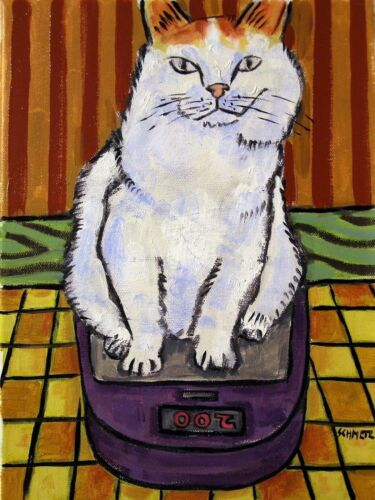CATon a scale bathroom picture animal art  4x6  GLOSSY PRINT