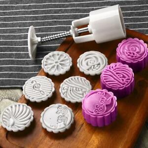Round-Cake-Mold-Mooncake-Mould-6-Stamps-Fower-Moon-Cake-Decor-Baking-Tools-UB