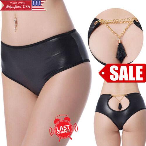 Women/'s Black Metallic Shine Bootyshort Panty Gold Chain Tassel Backless M-6XL