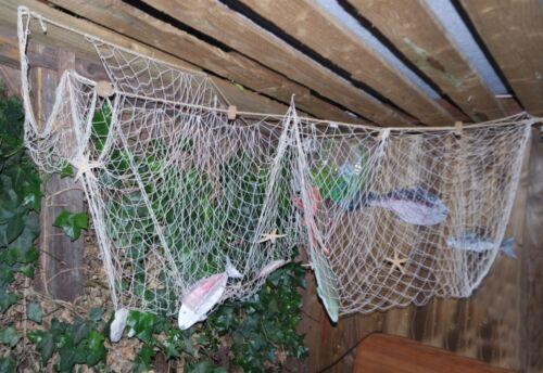 3-STÜCK Fischernetz 100/% Baumwolle je 150 x 200cm NATUR zum SONDERPREIS 520003-3