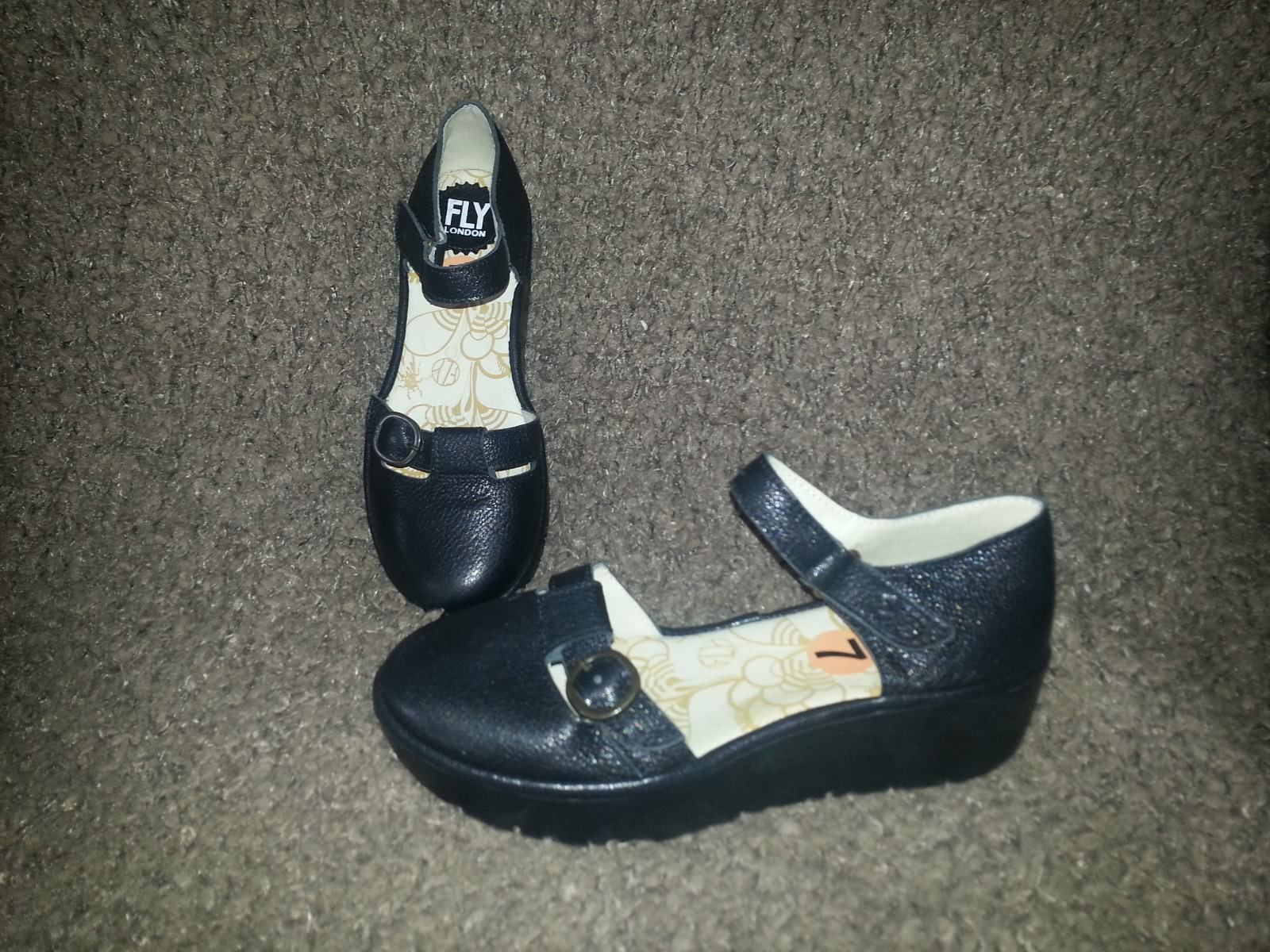 FLY LONDON-JADA-nero Leather Wedge Platform-Ankle Strap-Dimensione 37-6.5-NEW