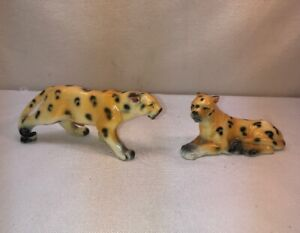 Vtg 50's Relco Japan Leopard Cheetah Wild Big Cat Salt & Pepper Set Cork Stopper