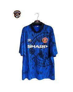 Vintage ORIGINAL Manchester United Football Away Shirt 1992-1993 (XL) Umbro Blue