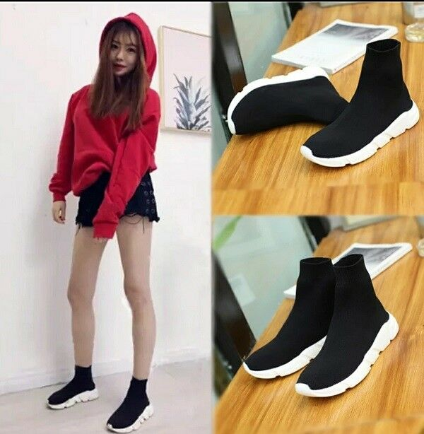 MW009530 - FASHION STRETCH FABRIC HIGH TOP SNEAKERS (Taille 35 - 43)