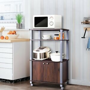Image Is Loading Bakers Rack Microwave Stand Rolling Storage Cart Kitchen