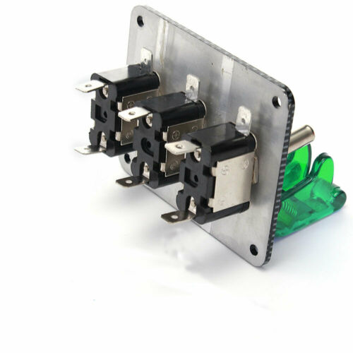 Racing Car ignition 3 Way Toggle Switch Panel Green LED 12V Engine Relays ON//OFF