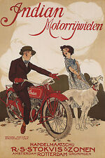 INDIAN MOTORCYCLE DOG GIRL BIKE ROTTERDAM AMSTERDAM VINTAGE POSTER REPRO LARGE
