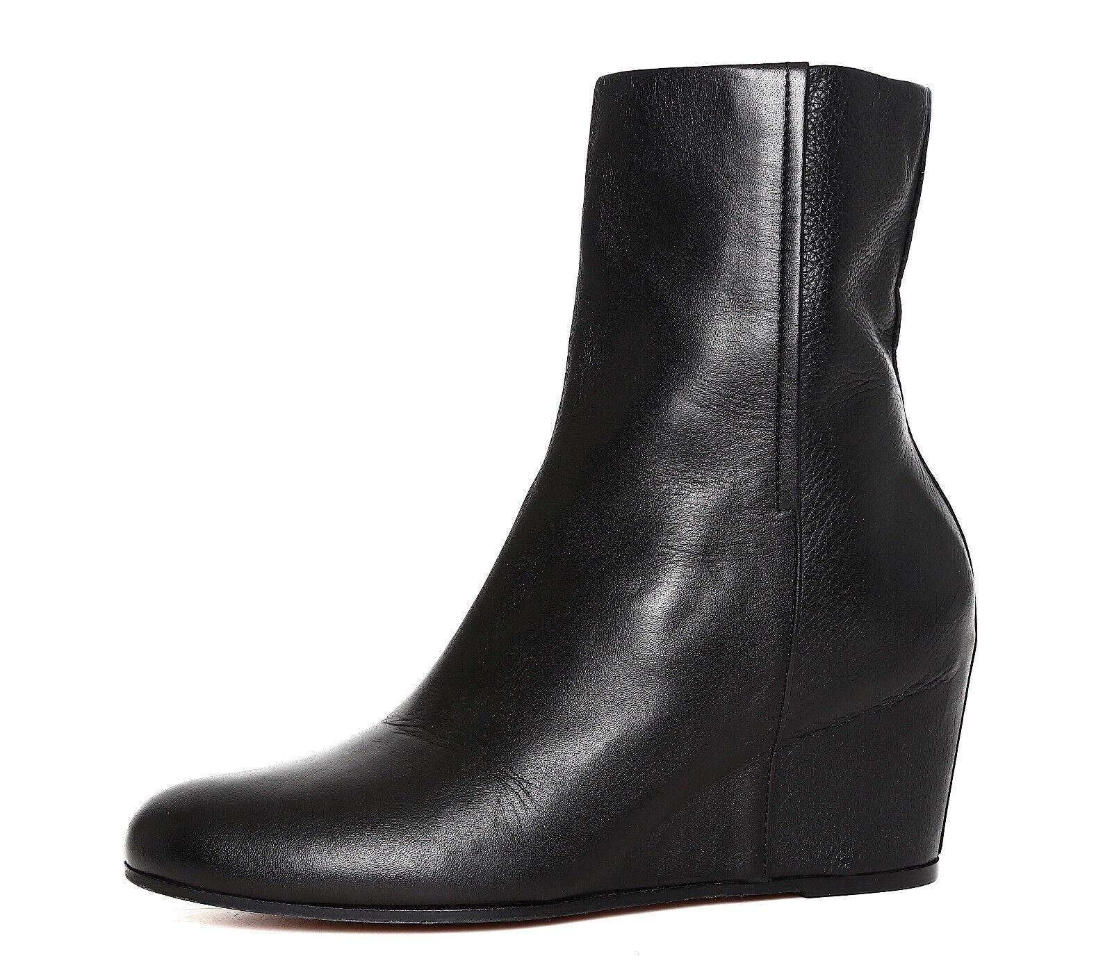 Vince Michela Wedge Leather Ankle Boot Black Women Sz 10 M 5903 *
