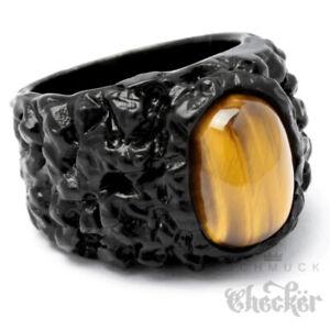 Edelstahl Ring schwarzer Fels mit Tigerauge Stein Damen Herren massiver Klunker