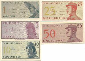 Indonesien P90-94,5 Note Set, 1-50 Sen, Farmer, Soldaten 1954,UNC