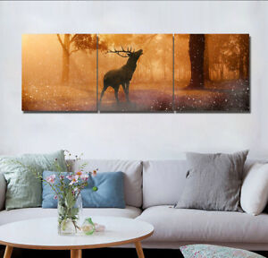 3Pcs Deer Roar Forest Wall Painting Canvas Living Room Art Print Picture Decor