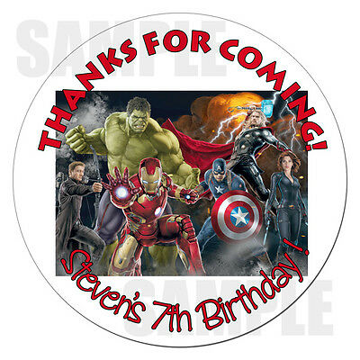 """Avengers Group Personalized Stickers Birthday Label 2.5"""""""