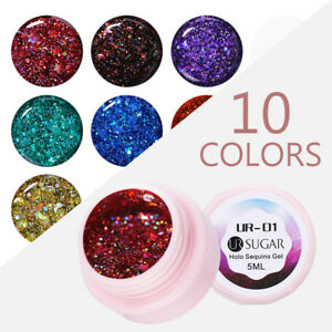 UR-SUGAR-5ml-Soak-Off-UV-Gel-Polish-Holographic-Nail-Art-Silver-Sequins-Varnish
