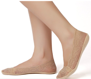 Women No Show Lace Cotton Liner Hidden Non-Skid Boat Socks 4 Pairs