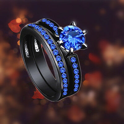 Fashion Rings Size 7-10 Four Claw Blue Zircon Women's Black Gold Filled Free SP